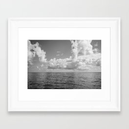 Monochrome Ocean View Framed Art Print
