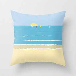 Sails from the beach Throw Pillow