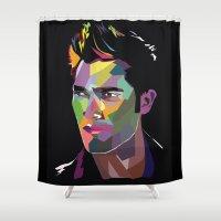 derek hale Shower Curtains featuring Derek Hale Mosaic Portrait by Liz Swezey