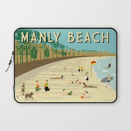 Manly Beach Retro Art Print Laptop Sleeve