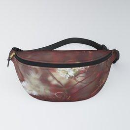 Digital Art Pincushion Wildflowers Blood Red on Black Fanny Pack