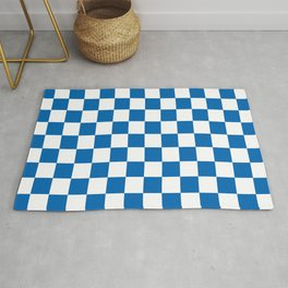 Checkered Pattern White and Ibiza Blue Rug