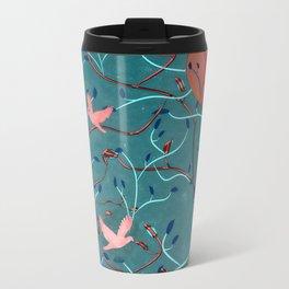 Art Nouveau Moon and Doves (Bronze and Blue) Metal Travel Mug