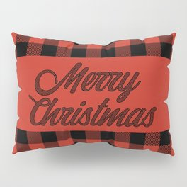 Merry Christmas Classic Red and Black Buffalo Check Pattern Pillow Sham