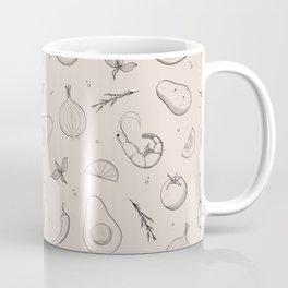 Food Pattern - Kitchen Decorations, Dusty Pink Coffee Mug