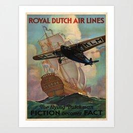 Vintage poster - Royal Dutch Airlines Art Print