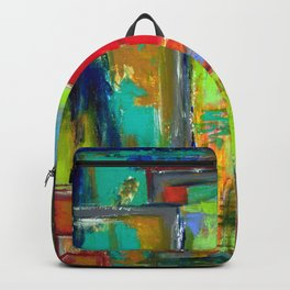 The never ending Maze: Bright Multi Color Abstract Painting Backpack