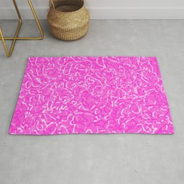 Chaotic white tangled ropes and pink pastel lines. Rug