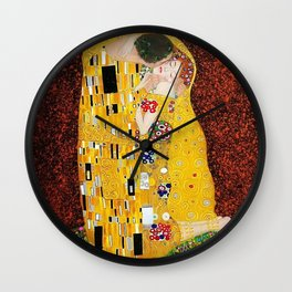 Gustav Klimt - The Kiss gold leaf, silver, and platinum, The Lovers golden period still life Wall Clock