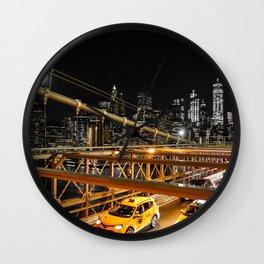 New York city: yellow cabs on Brooklyn bridge Wall Clock