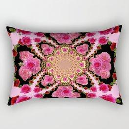 BLACK-PINK GARDEN ROSES MANDALA Rectangular Pillow