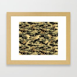 Gold Green Army Print Camouflage Framed Art Print