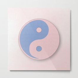 Ying Yang serenity blue and rose quarz Metal Print