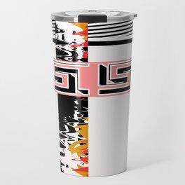 Vintage .Art . Intertwining colored bands . Travel Mug
