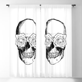 Skull and Roses | Skull and Flowers | Vintage Skull | Black and White | Blackout Curtain
