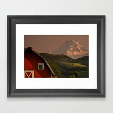 Barn and Mount Hood Framed Art Print