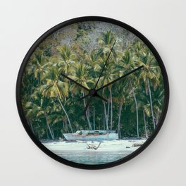 Abandoned boat on desert island Wall Clock