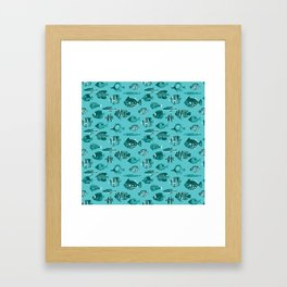School of Tropical Fish Blue Framed Art Print