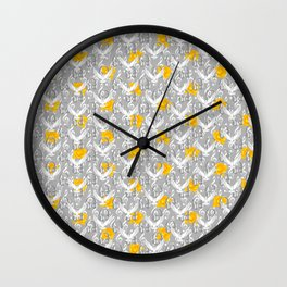 Peace song memories / Headphones, dove, clef and rose pattern Wall Clock