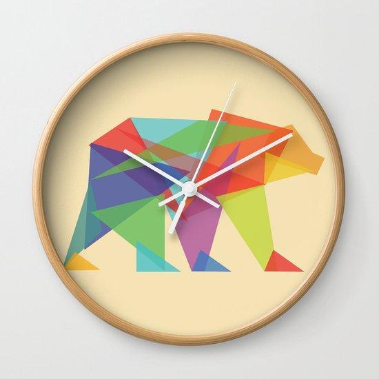 Fractal Geometric bear Wall Clock