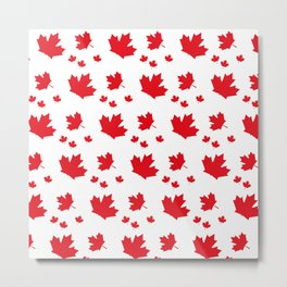 Canada Maple Leaf-Large-White Metal Print