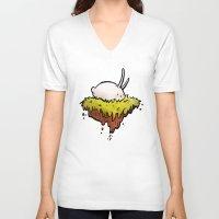 onward V-neck T-shirts featuring Bun Bun in Space by Unihorse
