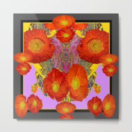 Modern Art  Orange Poppy Flowers & Lilac Color Grey Art Metal Print
