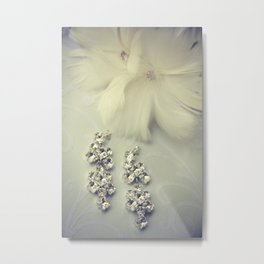 Diamnond / Crystal Earrings and feather flower Metal Print