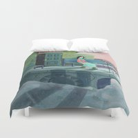 poem Duvet Covers featuring December Poem by Ofelia Yang