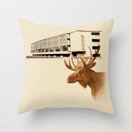 Brown Elk Bauhaus Throw Pillow