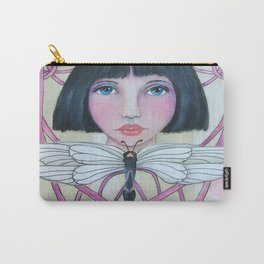 Art Deco Face and Dragonfly Carry-All Pouch