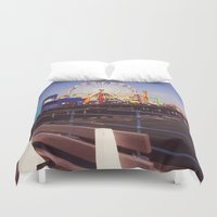 santa monica Duvet Covers featuring Santa Monica Pier by Rachel Barrett