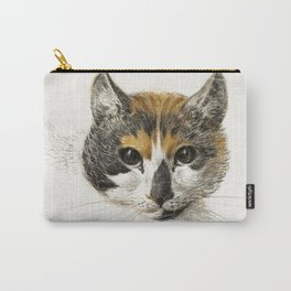 Head of a calico cat with open eyes (1819) by Jean Bernard (1775-1883) Carry-All Pouch