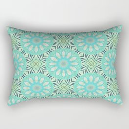 Cream And Turquoise Flowers Rectangular Pillow