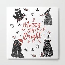Christmas black and white animals Metal Print