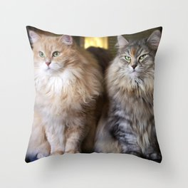 Mr. Cesare and Queen Cleopatra. Siberian cats Throw Pillow