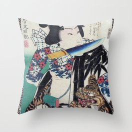 Kunichika Tattooed Warrior with Sayagata Pattern Background Throw Pillow