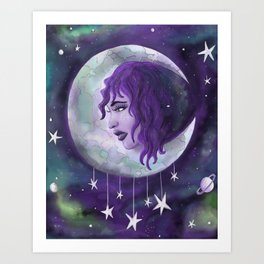 Lady in the Moon Art Print