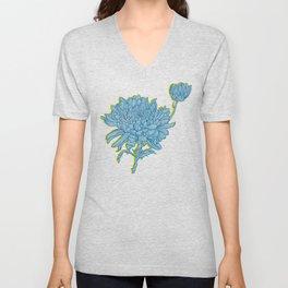 Chrysanthemum in Blue Unisex V-Neck