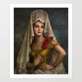 Spanish Beauty with Lace Mantilla and Comb by Jesus Helguera Art Print