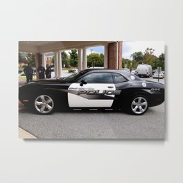 Gainesville Florida Police Challenger Black and White Patrol Car Metal Print