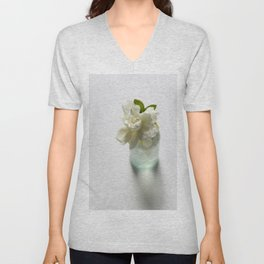 White Gardenia in Aqua Blue Vase Unisex V-Neck