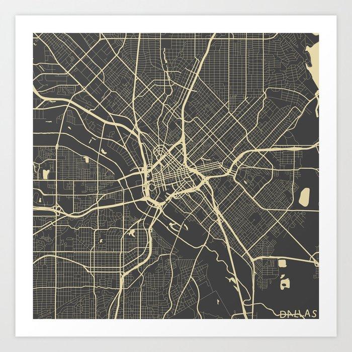 Dallas Map Art Print By Mapsmapsmaps Society6