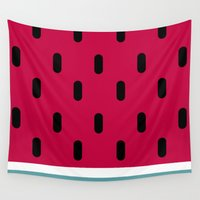 watermelon Wall Tapestries featuring Watermelon by According to Panda