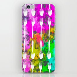 fork and spoon pattern with colorful painting abstract background iPhone Skin