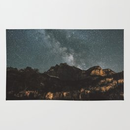 Space Night Mountains - Landscape Photography Rug