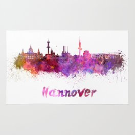 Hannover skyline in watercolor Rug