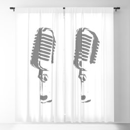 Microphone Silhouette Grey Blackout Curtain