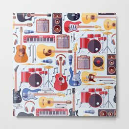 Music Instruments Seamless Pattern Metal Print