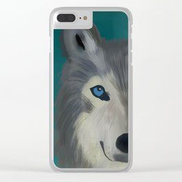 Color Pop Wolf Clear iPhone Case